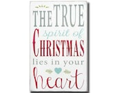 The True Spirit of Christmas Heavily Distressed Typography Word Art Sign Painted
