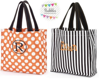 Monogrammed Halloween Totes Striped or Polka Dotted