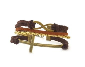 Cross and Infinity Cord Bracelet, Best Friend Gift, Handmade Bracelet, Cord Bracelet, Nautical Bracelet, Gift Ideas