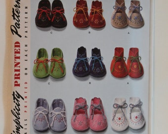 Simplicity 2867, Baby Booties Pattern, Baby Shoes Sewing Pattern, Sewing Pattern, One Size, Uncut