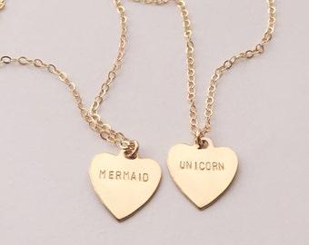 Mermaid or Unicorn Heart Charm Necklace