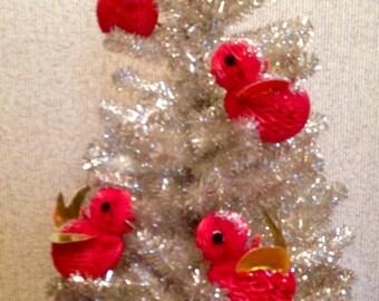 Vintage Christmas ornaments set 4 red birds 50s