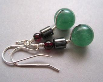 Sterling Aventurine Earrings, Garnet Earrings, Hematite Earrings, Modern Gemstone Earrings, Sterling Silver