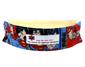 Superman Kids Medical Alert Bracelet Safety ID Fabric Wristband Custom Labels