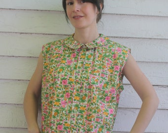 Cotton Floral Blouse Sleeveless Print Top Vintage Summer Casual 60s M L