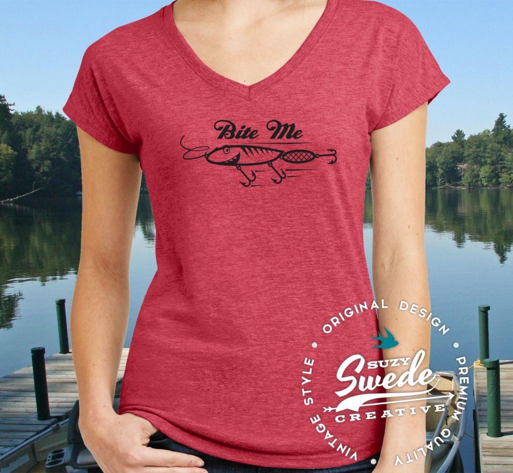 Bite me ladies fishing v neck t shirt womens fishing shirt for Fishing shirts for women