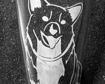 Space Cowboy Ein Corgi etched pint glass