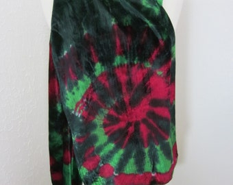 Scarf Silk Velvet Fuschia and Green Swirl Large Size