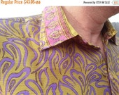 VALENTINES SALE Men's Handmade Sari Silk Short Sleeve Button Down Casual Shirt - Chartreuse and Purple - L and Xl - Mathias H793