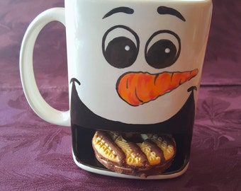 Snowman cookie mug - Childs Mug - Holiday gift for child - Snowman Mug - Snowman