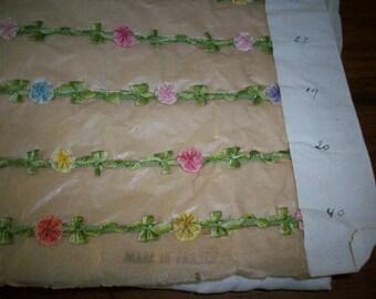antique samples of garland ribbon work silk or rayon