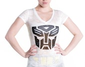 Transformers Autobot insignia tee - women's white burnout v-neck t-shirt by MITMUNK