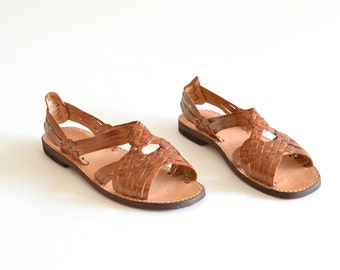 Vintage HUARACHES woven leather sandals / 10