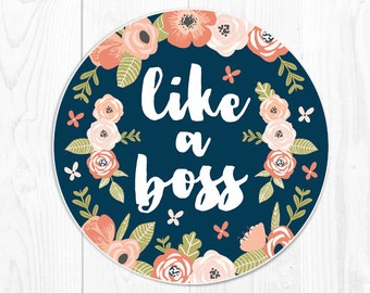 mouse pad Mousepad Floral Mouse Pad Quote Coworker Gift for Coworker Office Supplies Like a Boss Cubicle Decor Desk Decor Desk Accessories