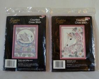 Cross Stitch Kits Swan Unicorn 2 Unopened 5x7 w Pink Frames Mystical Dreamy