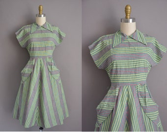 50s green cotton stripe print vintage dress / vintage 1950s dress