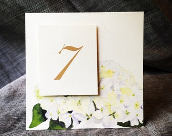 White Hydrangea Table Number Tents - for Events, Weddings, Parties, Showers, Graduations.