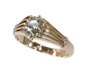 Summer Sale Victorian antique diamond ring with big cushion cut old mine cut diamond