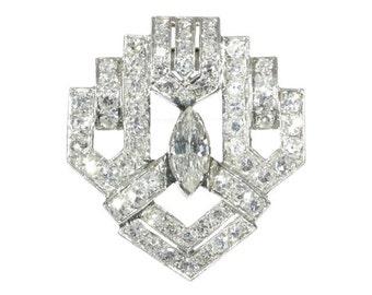 Fine Art Deco diamond dress clip platinum