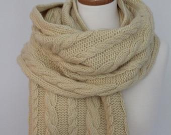 Knitting PATTERN- Cabled Wrap, Shawl PDF knitting pattern