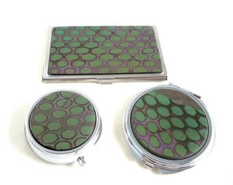 Card case set with pill box and compact mirror
