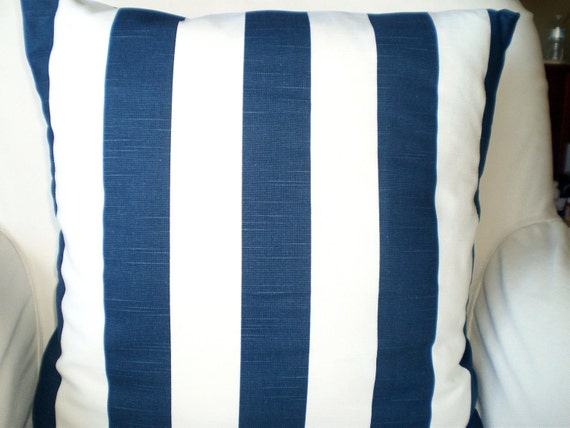 Navy Stripe Pillow Cover Decorative Pillows By