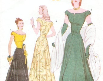 SZ 6/8/10 - Misses' Off the Shoulders, Lined, Fit and Flare Evening Dress - Vintage 1948 Reissued Pattern - Butterick 6409