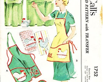 Vintage 50's Apron Pattern - McCall's 1752 - His & Hers Bib Aprons, Oven Mitt, Potholder and Window Curtains - Homemaker Set - One Size