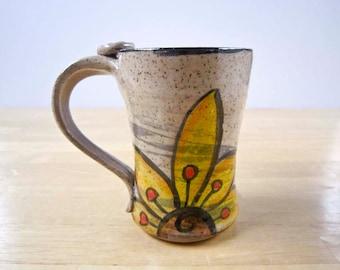 Ceramic Coffee Mug - Coffee Cup - Yellow Sunflower - Stoneware Mug -  Small Coffee Mug - Pottery Mug - Clay Mug - 10 ounce mug