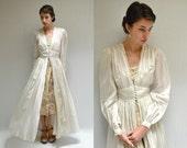 Long Silk Robe //  40s Dressing Gown  //  LE JETE