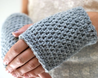 Gray Hobo Gloves // Crocheted Fingerless Mitts // NORTHERN LIGHTS