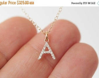 Summer SALE 14K solid gold diamond initial necklace A-Z. Fine jewelery. Minimal jewelry