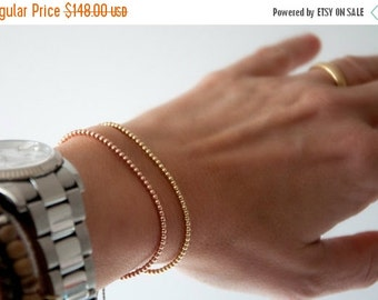 Summer SALE Solid 14k Rose Gold Beaded Friendship Bracelet, delicate bracelet with dainty beads with silk