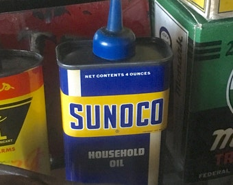 Vintage Sunoco Oil Can Tin / Sun Oil Company /  Collectible Oil and Gas