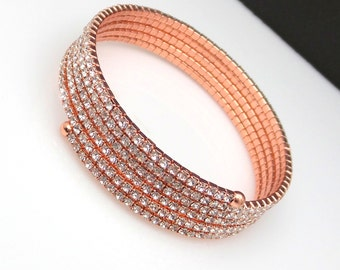 Bridal jewely wedding bracelet bridesmaid gift prom party christmas clear white round rhinestone setting rose pink gold coil bracelet