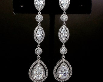 bridal earrings wedding jewelry bridesmaid prom pageant christmas gift AAA Clear white teardrop cubic zirconia marquise cz rhodium post