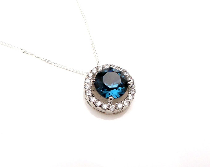 Bridal necklace bridesmaid wedding gift necklace Sterling silver necklace with round swarovski montana navy sapphire blue rhinestone pendant