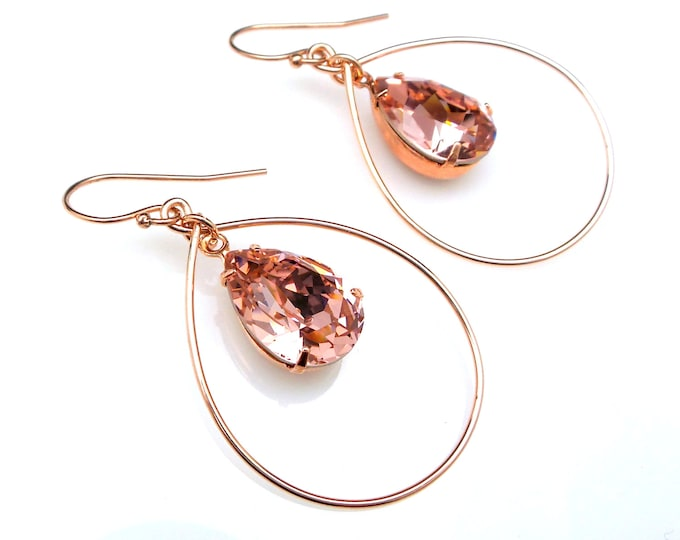 bridesmaid gift prom Swarovski vintage rose blush pink teardrop foiled crystal rhinestone drop simple rose gold-filled fish hook earrings
