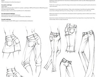 """Practice Pack for """"Fashion Illustration Tutorial: Denim Done 8 Different Ways"""" Video"""