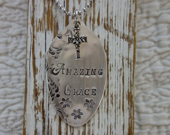 Vintage Spoon Bowl metal Hand Stamped Amazing Grace Tag ornament Necklace or key chain