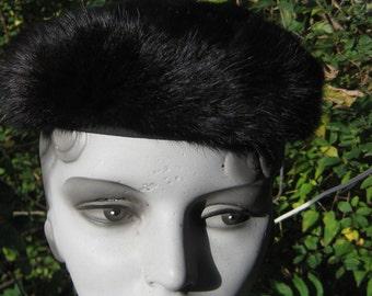Fabulous Vintage 1950s  1960s Pill Box Mink Hat Black Brown