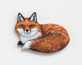 Sleepy Fox Brooch - Laying Fox Wood Pin - Fox Jewelry - Wood Fox Accessory - Woodland Fox Pin - Wood Fox Brooch - Handmade Hand Painted Fox