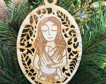 Babywearing Ornament - Christmas Ornament - Woven Wrap - Long Curly Hair