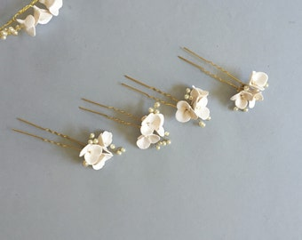 Mira - Bridal Hair Pins, Soft white flower pins, Clay Flower pins