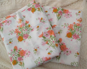 70s pair of cotton standard PILLOWCASES - floral, white, orange, pink, Cannon
