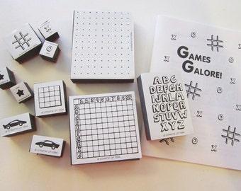 vintage GAMES GALORE stamp set - Stampin Up circa 1994 - game stamps - foam blocks, gently used