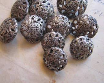 11 metal buttons - 14mm, 17mm, and 22mm - antiqued silver tone, floral filigree