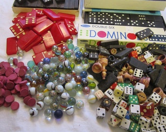 vintage game pieces - large assortment - dominoes, dice, chess pieces, marbles, bingo markers