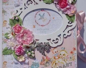 Baby Girl 11x9 large binder premade scrapbook album