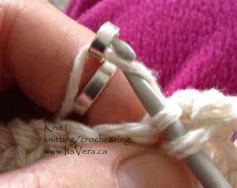 Sterling silver ring, original crochet ring, crocheting ring, crochet tool, knitting tool, knitters, crochet accessories, craft tools